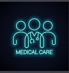 doctor team neon icon medical care neon concept vector image