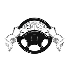 Driver design element with hands holding steering vector image