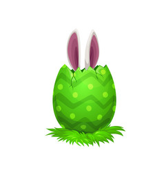 easter bunny ears and holiday egg vector image