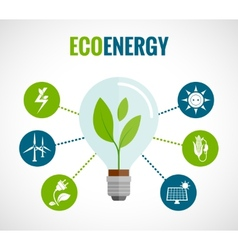 Eco energy flat icons composition poster vector