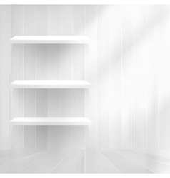 Empty wood shelf on old wall EPS10 vector