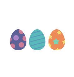 ester eggs isolated set flat cartoon vector image