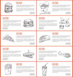 Fast food graphic banner set vector