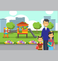 father daughter son portrait avatar city park vector image