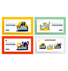 fearful kids and imaginary monsters website vector image