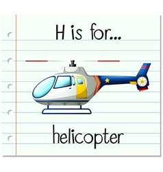 Flashcard alphabet H is for helicopter vector