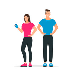 Flat style sport gym fitness man and woman vector