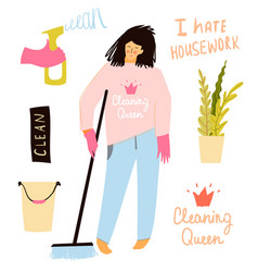 Funny flat housekeeper girl sad and unhappy vector