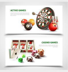 Games realistic banner set vector