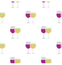glasses with red and white wine pattern flat vector image