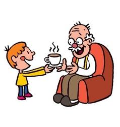 Grandson bringing tea to grandpa vector