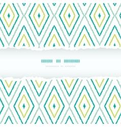Green ikat diamonds torn frame seamless patterns vector image