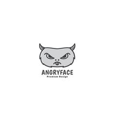 Hamster head cartoon angry face logo design vector
