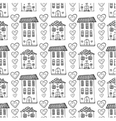 Hand drawn cute houses seamless pattern doodle vector
