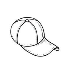 hand drawn monochromatic cartoon baseball cap vector image