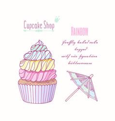 Hand drawn rainbow cupcake vector