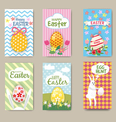 happy easter cards set with rabbit egg mini vector image
