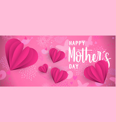 happy mother day pink paper cut heart web banner vector image