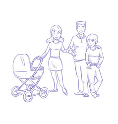 happy young family with child and bain stroller vector image