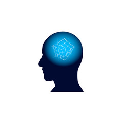 Head with puzzle in brain brainstorm thinking vector