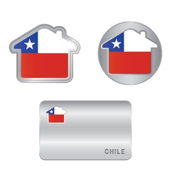 Home icon on the Chile flag vector