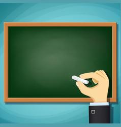 Human hand writing in chalk on blackboard vector