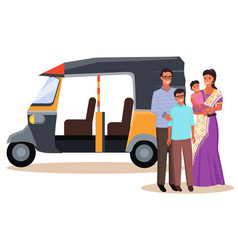 Indian family in traditional clothes and rickshaw vector