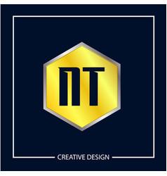 Initial nt letter logo template design vector