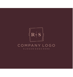 Initial rs letters decorative luxury wedding logo vector