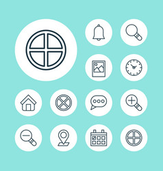 internet icons set collection of bell exit time vector image