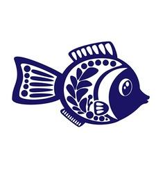 isolated cartoon fish on white background vector image