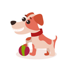 Jack russell terrier character playing with ball vector