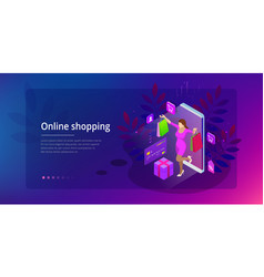 Landing page template of shopping online concept vector