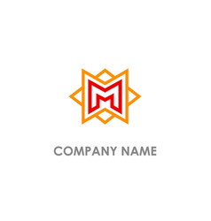 m initial star line company logo vector image