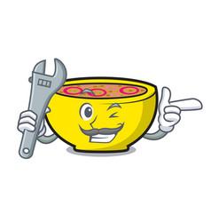 Mechanic soup union mascot cartoon vector