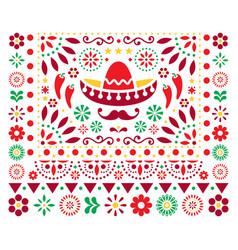 mexican floral design with sombrero vector image