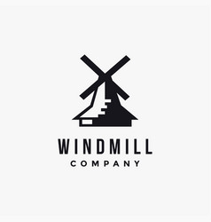 minimalist windmill logo icon template vector image