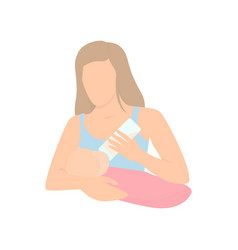 mother feeding baby with milk in bottle mothers vector image
