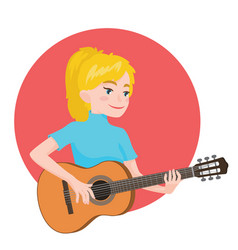 Musician playing guitar blonde girl guitarist is vector