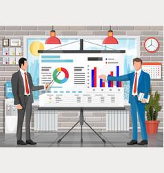 Office building interior projector screen vector