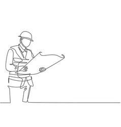 one continuous line drawing young foreman vector image