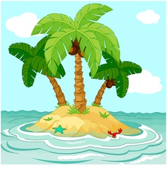 palm trees on desert island vector image vector image