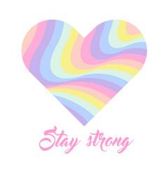 pastel rainbow heart background inspirational vector image