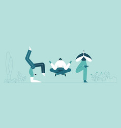 people yoga poses man and woman doing asana vector image