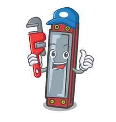 Plumber harmonica mascot cartoon style vector