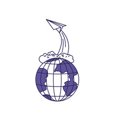 purple line contour of earth globe and paper plane vector image