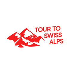red logo swiss alpine mountains isolated on vector image