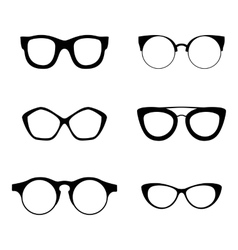 Retro collection 6 various glasses sunglasses vector