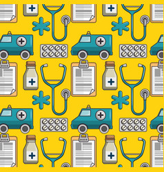 Seamless pattern with medical elements vector