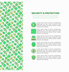 security and protection concept with line icons vector image